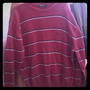 Nautica red sweater with black stripes
